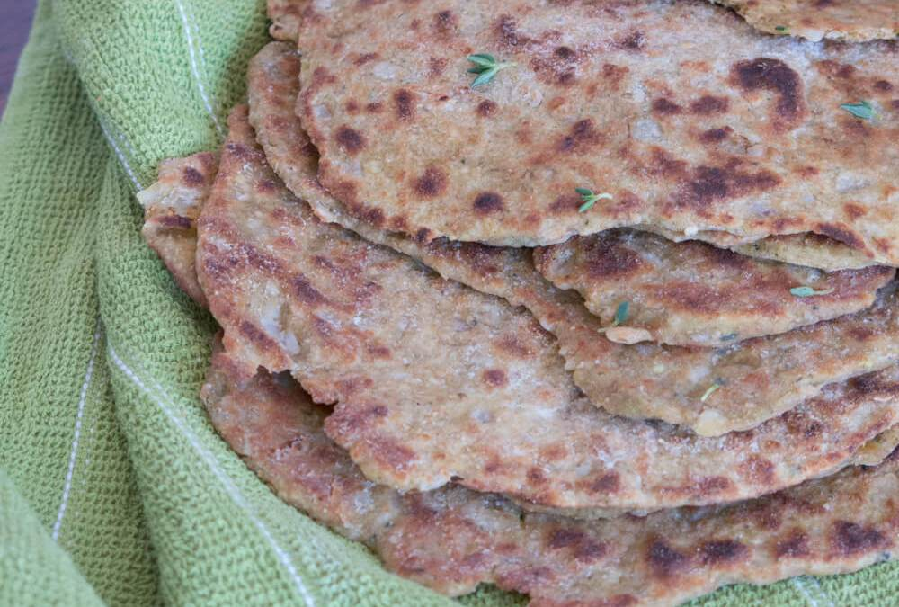 """Zucchini, Lemon Thyme and Onion Flatbread 