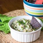 sweet onion dip in a white bowl with corn chips