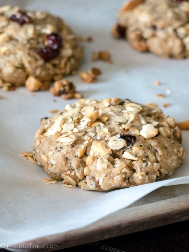CCashew and Cranberry Breakfast Cookies | www.infinebalance.com #vegan #breakfast