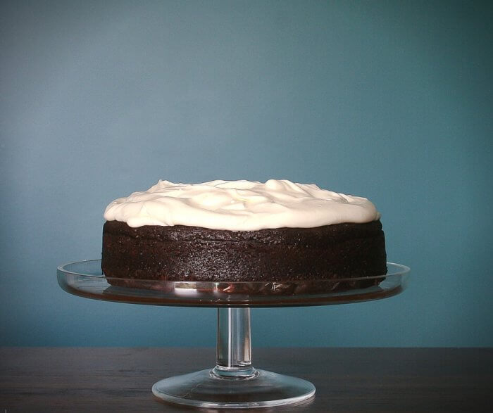 dark chocolate guinness cake with whipped cream frosting
