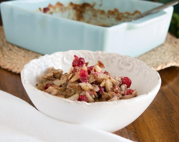 Cranberry and Pear Baked Oatmeal | www.infinebalance.com Breakfast recipe. Vegan