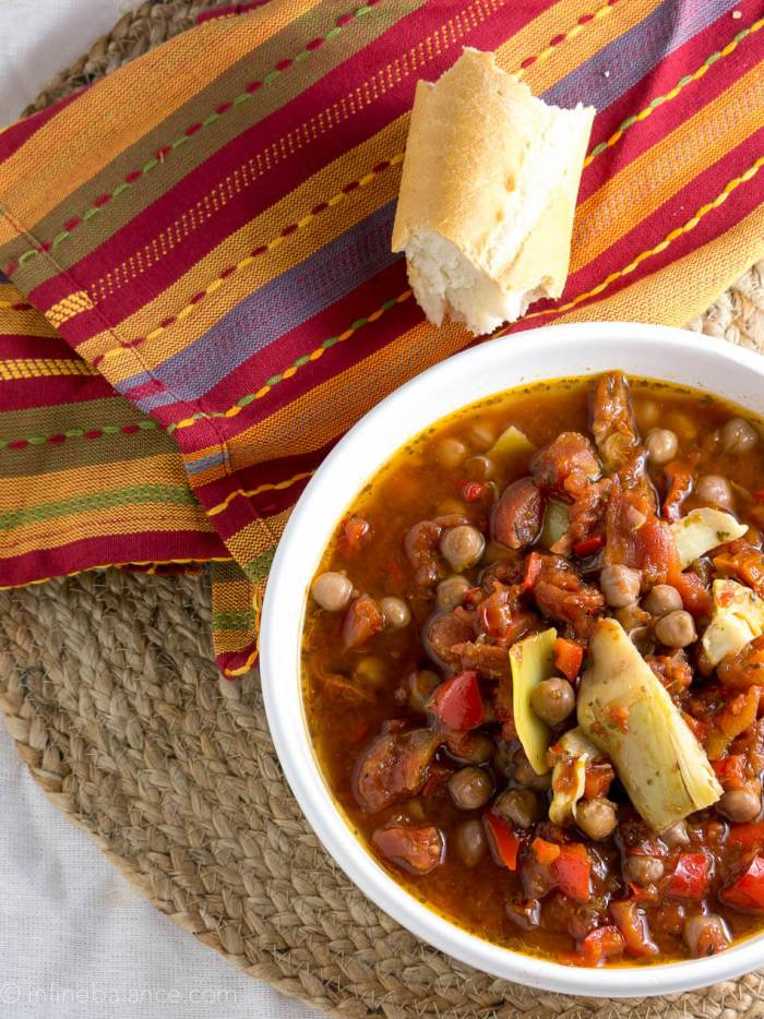 Chickpea Cacciatore | A simple vegan slowcooker stew recipe.