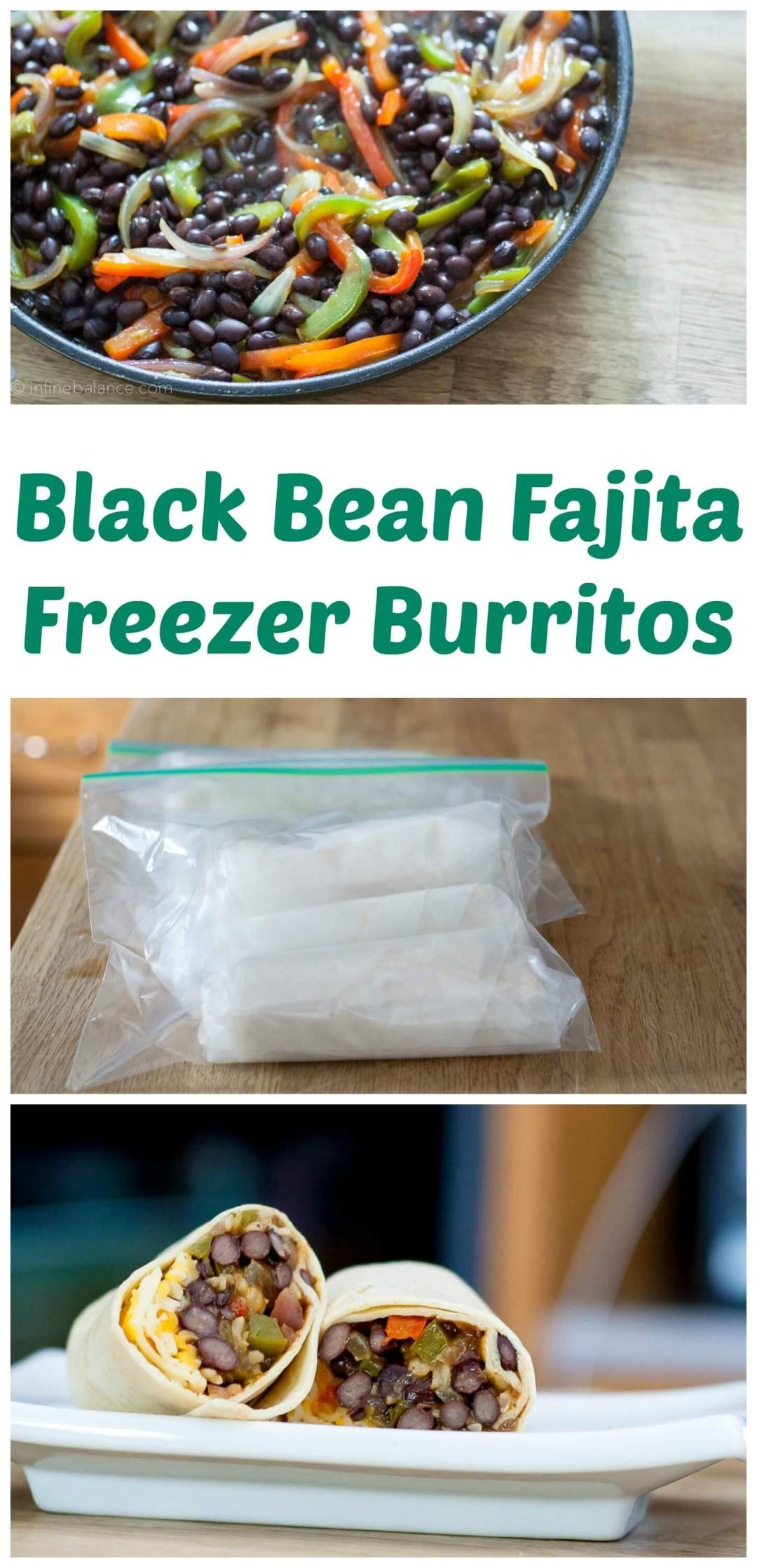 Black Bean Fajita Burritos for the Freezer | www.infinebalance.com #vegetarian #recipe