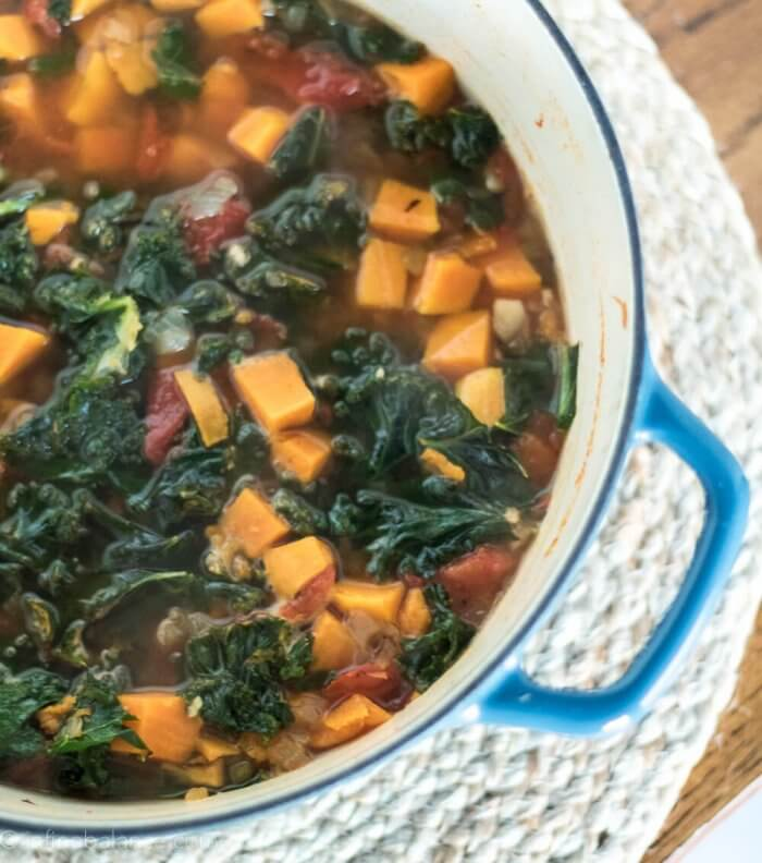 big pot of sweet potato and kale soup
