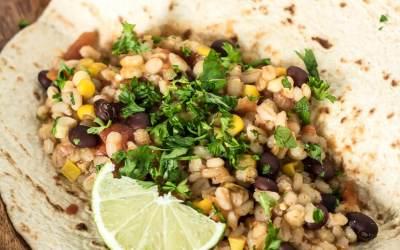 Slow Cooker Black Bean, Corn, and Barley Burritos
