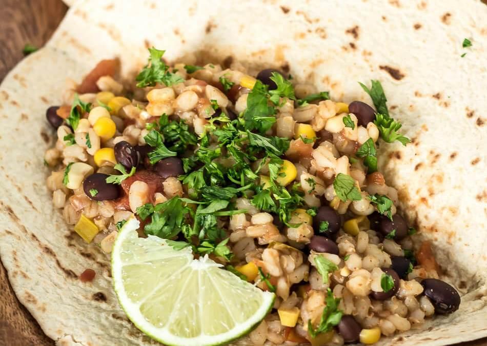 Slow Cooker Black Bean and Barley Burritos
