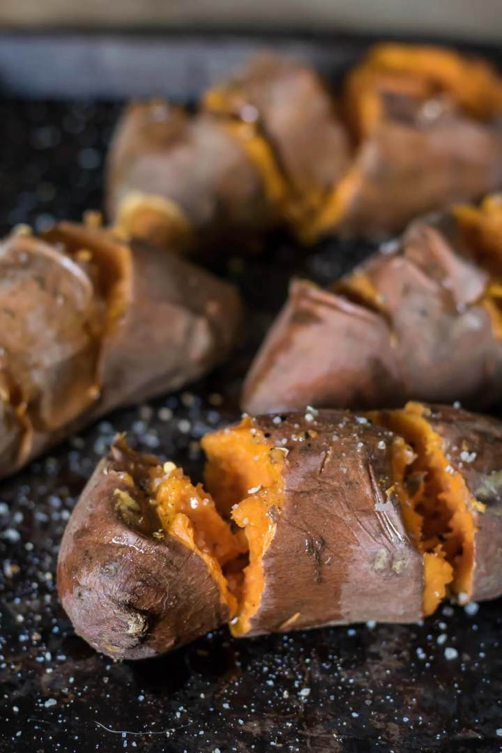 Roasted Sweet Potatoes with Smoked Cheddar | www.infinebalance.com