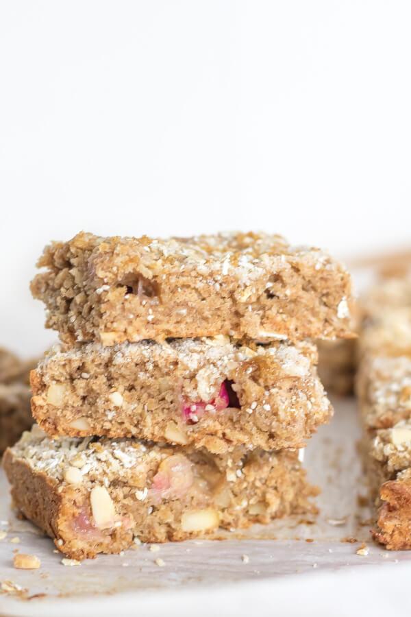 Rhubarb Crumb Bars   www.infinebalance.com #recipe #vegan