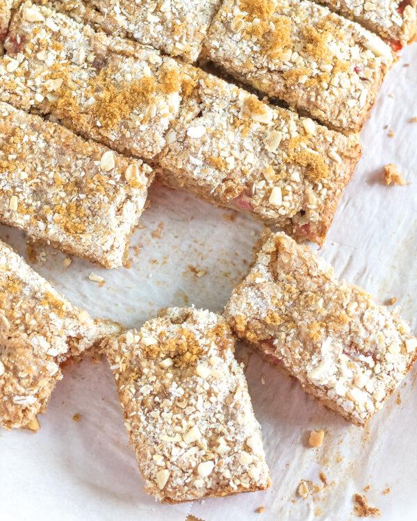 Rhubarb Crumb Bars {Vegan} {Gluten-Free}