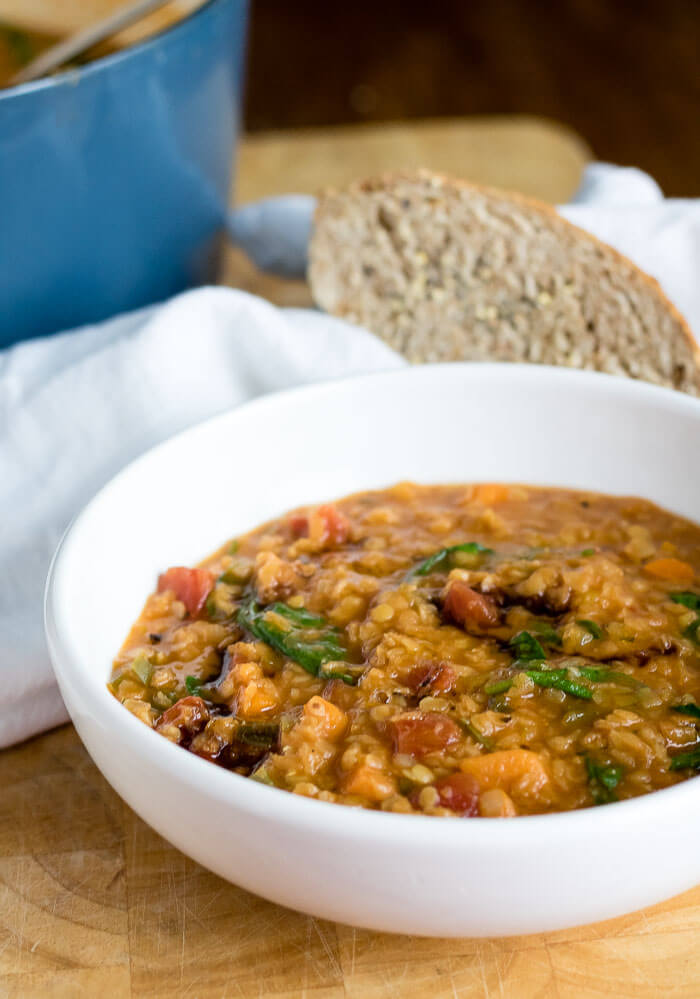 Easy Red Lentil Soup | www.infinebalance.com #recipe #vegan