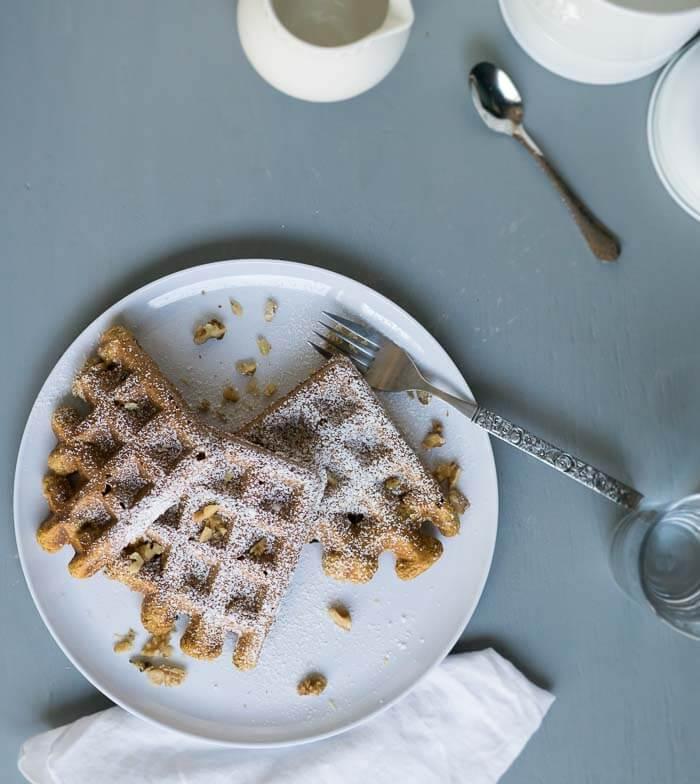 Pumplin Pie Waffles on a white plate - a table setting