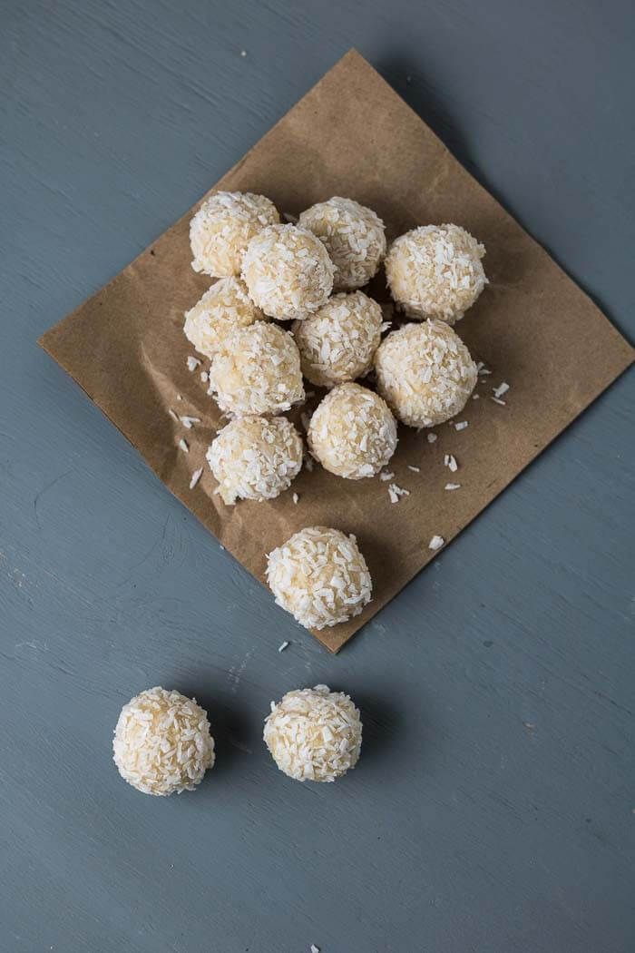 raw lemon pound cake bits with coconut