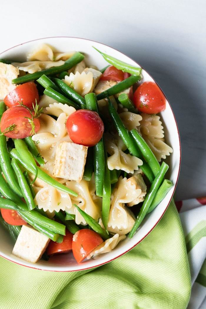 Summer Pasta Salad with Tofu, Tomatoes and Green beans