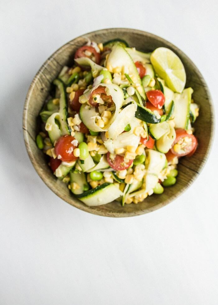 Sweet Corn and Zucchini Salad in a bowl