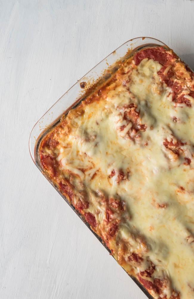 overhead picture of vegetarian lasagna