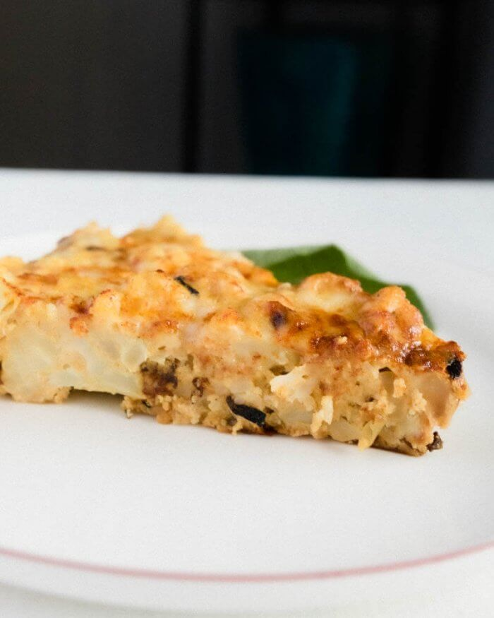 roasted cauliflower frittata side view