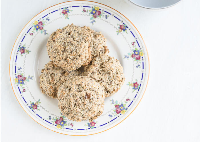 scones stacked on a plate