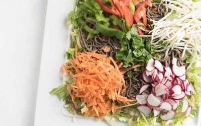 Soba Noodle Salad with Vegetables and Spicy Peanut Sauce