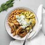 roasted chickpeas potato bowls with dill sauce with Brussel Sprouts