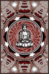 Buddha Tapestry - Lotus Flower Mandala Meditation Tapestry