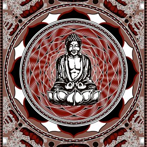 Buddha Tapestry - Lotus Flower Mandala Meditation Tapestry