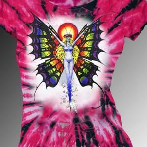 Butterfly Lady T-shirt - Fantasy art, women's pink tie dye, 100% cotton crew neck cut, short sleeve tee.