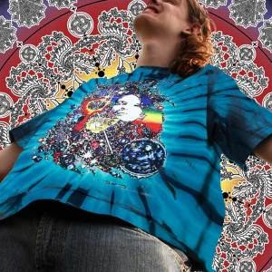 Janis Joplin T-shirt Men's Inspired Dune - Men's blue tie dye, 100% cotton crew neck cut, short sleeve tee.