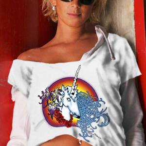 Female Unicorn T-shirt - Women's white, 100% cotton crew neck cut, short sleeve tee.