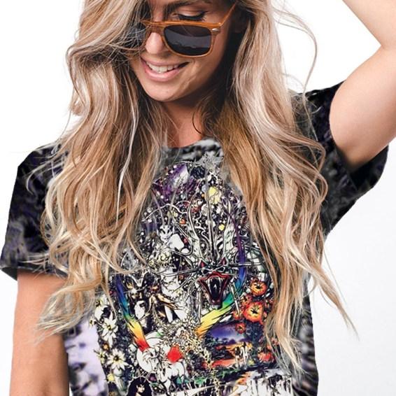 Dragon Lady – Women's black tie dyed fantasy art t-shirt