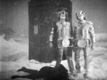 Mondassian Cybermen in front of the TARDIS at the South Pole in The Tenth Planet.