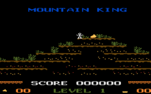 Atop the mountain where the perpetual flame burns: Mountain King's 5200 & 8-bit rendition.