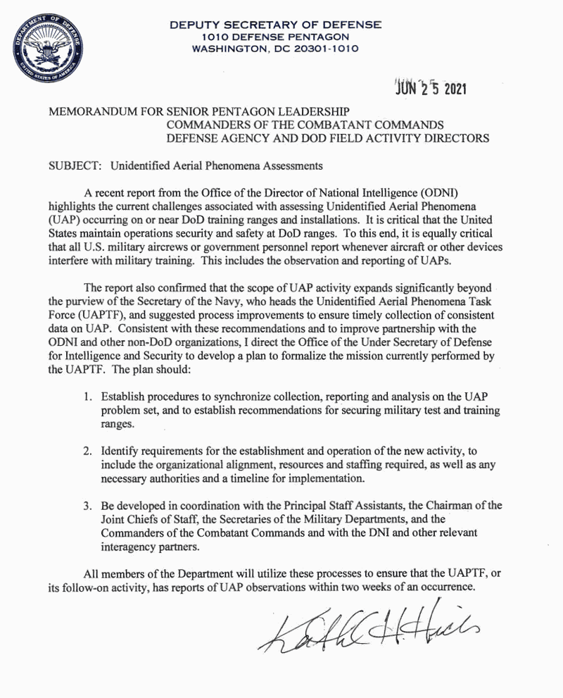 The New Official Directive Calls For Formalizing The Study Of UFOs