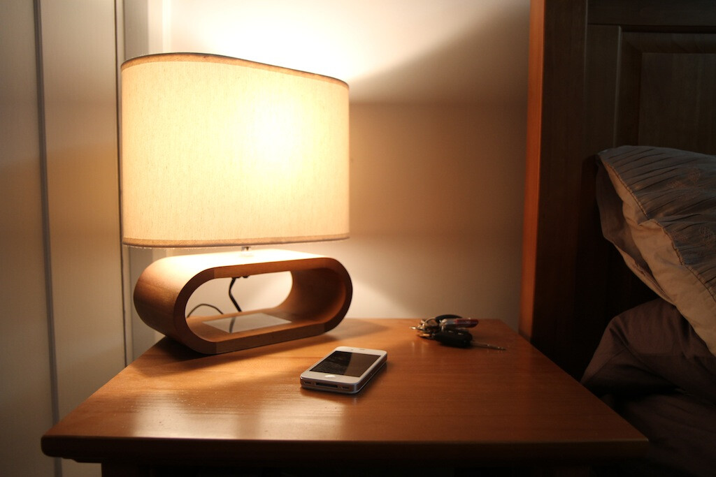 phone on a night stand