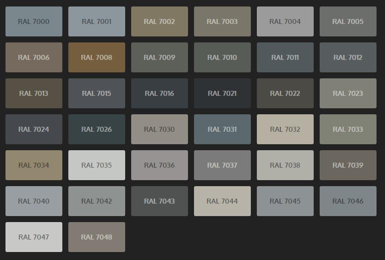 Tabelle grigi Ral x colorazione serramenti in PVC