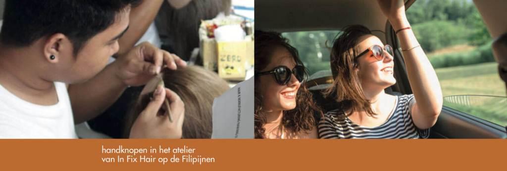 Handknopen in het atelier van In Fix Hair op de Filipijnen