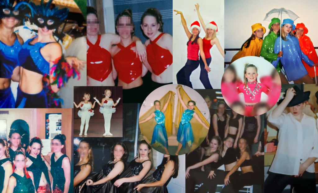A collage of me in dance costumes with friends at various ages
