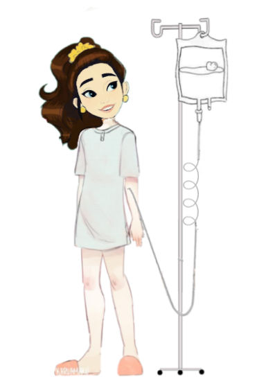 illustration of a girl standing by an IV pole that has TPN hanging from it