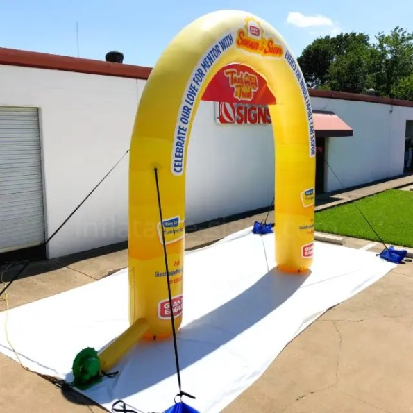 15 ft standard inflatable arch - giant eagle yellow custom made in the usa