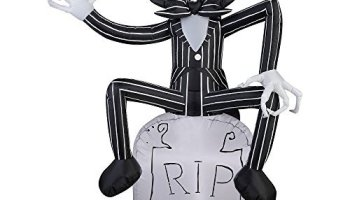 gemmy halloween inflatable 5 jack skellington on grave stone nightmare before christmas prop decoration - Nightmare Before Christmas Inflatable Lawn Decorations