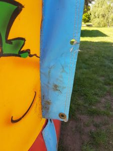 after hole repaired in sidewall of a bouncy castle