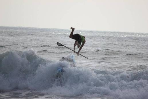 Sup Bail Breaking Wave Fall