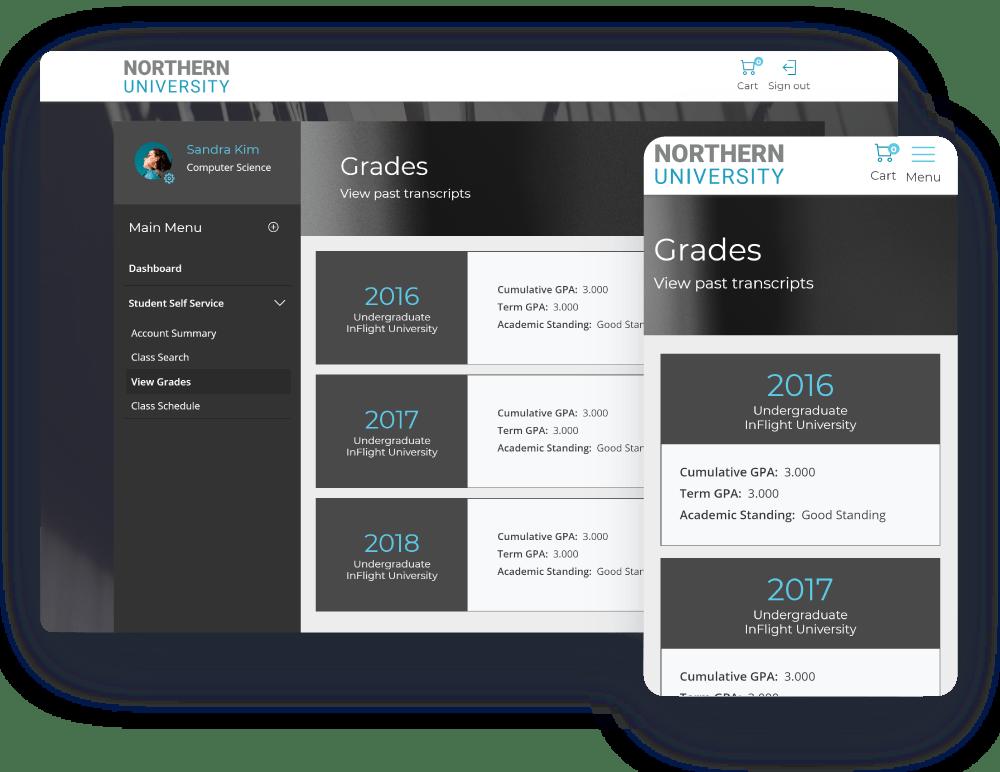 Grades Desktop Mobile Screen