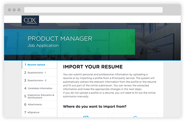 Image of Cox Resume Upload