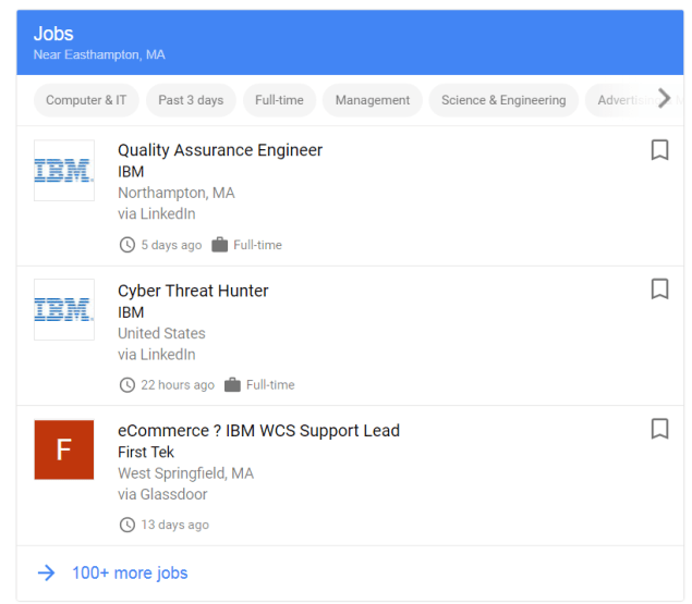 A screenshot of listings in Google For Jobs