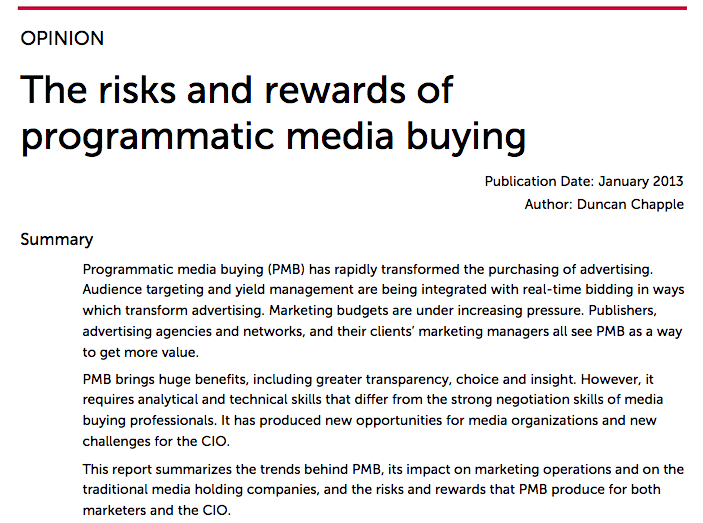 The risks and rewards of programmatic media buying