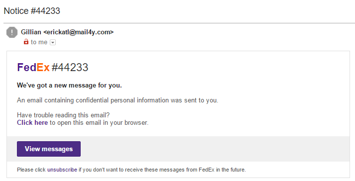 FedEx Phishing Email Example