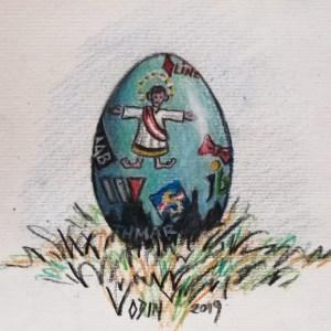 """""""Das Partei-EI"""" Zeichnung von Odin Wiesinger."""