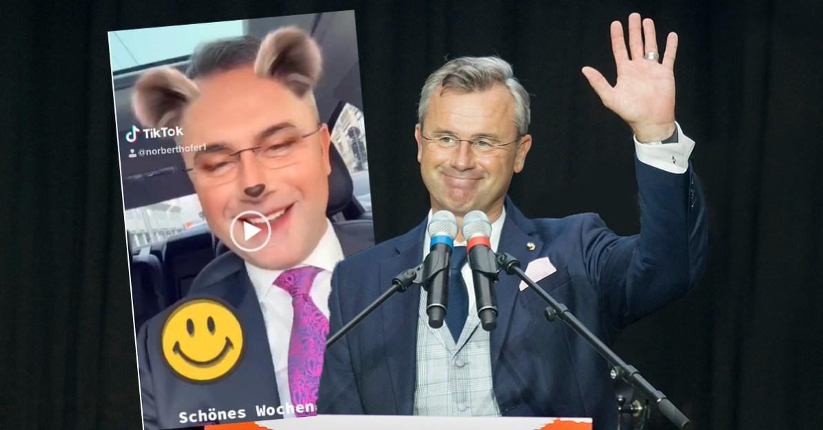 Leider kein Fake: Norbert Hofer (FPÖ) balmiert sich mit Tussi-Filter-Video