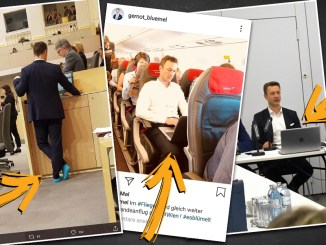 Minister Blümel hat viele Gedächtnislücken. Neben seinem Laptop vergisst er schon mal seine Schuhe.