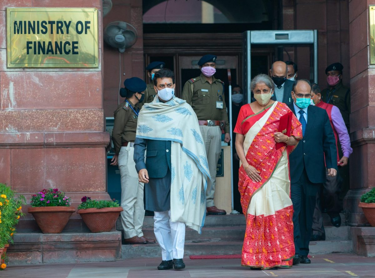 Minister of Finance Nirmala Sitharaman leaves the Central Secretariat building for the Parliament to announce the Union Budget in New Delhi, India, 1 February 2021 (Photo: Reuters/Pradeep Gaur).